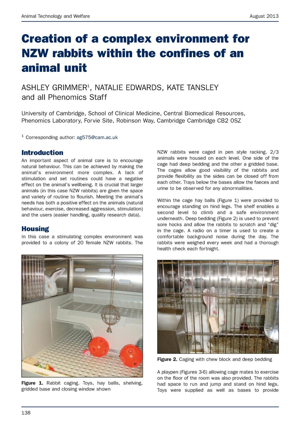 Animal Technology and Welfare  August 2013  Creation of a complex environment for NZW rabbits within the confines of an an...
