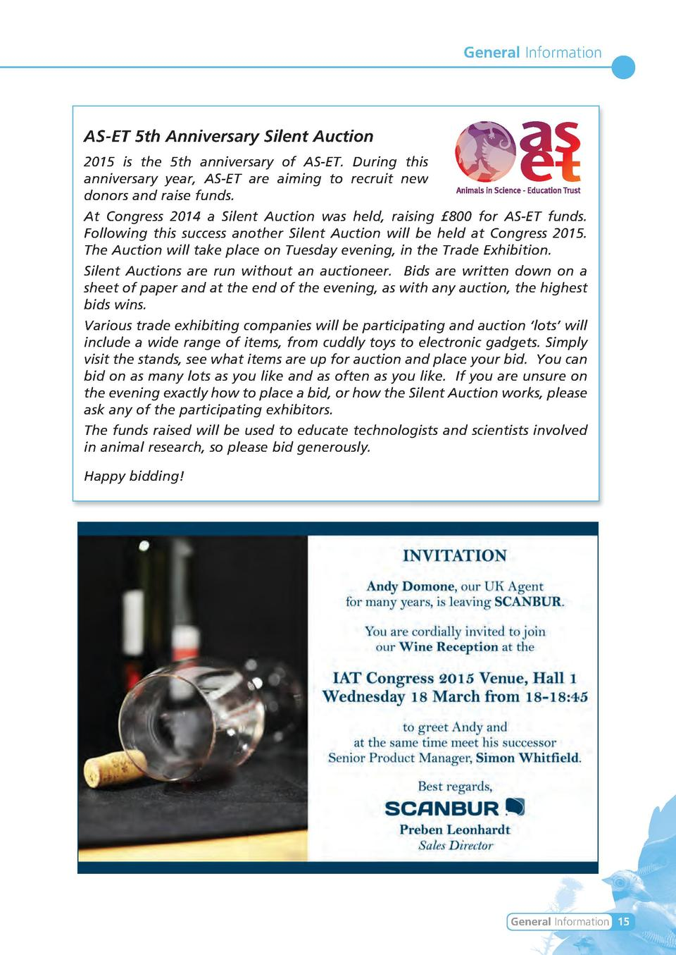 General Information  AS-ET 5th Anniversary Silent Auction 2015 is the 5th anniversary of AS-ET. During this anniversary ye...