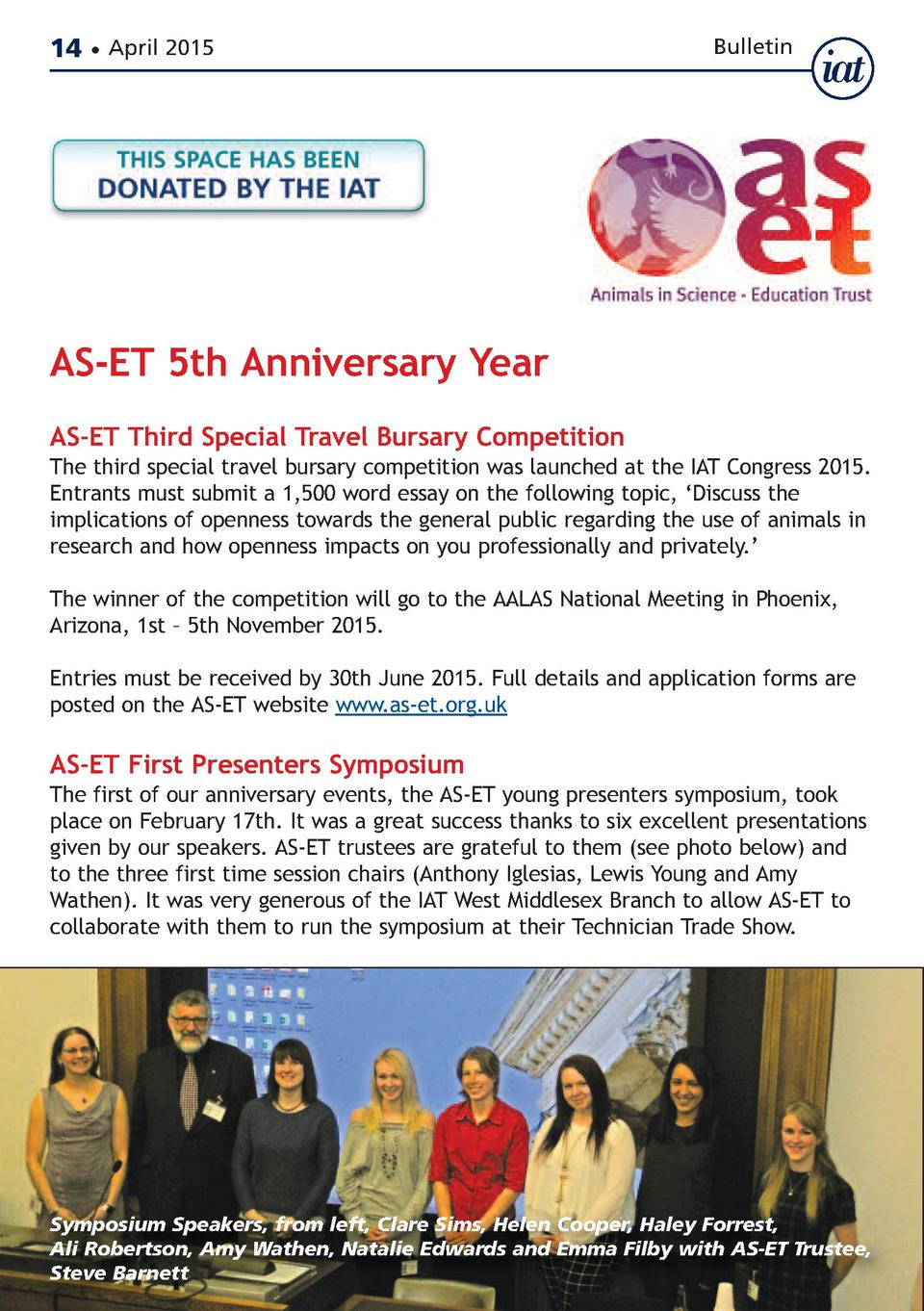 14     April 2015  Bulletin  AS-ET 5th Anniversary Year  AS-ET Third Special Travel Bursary Competition  The third special...