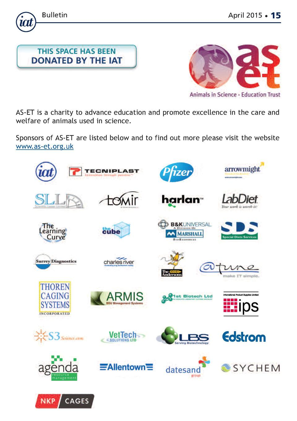 Bulletin  April 2015      15  AS-ET is a charity to advance education and promote excellence in the care and welfare of an...