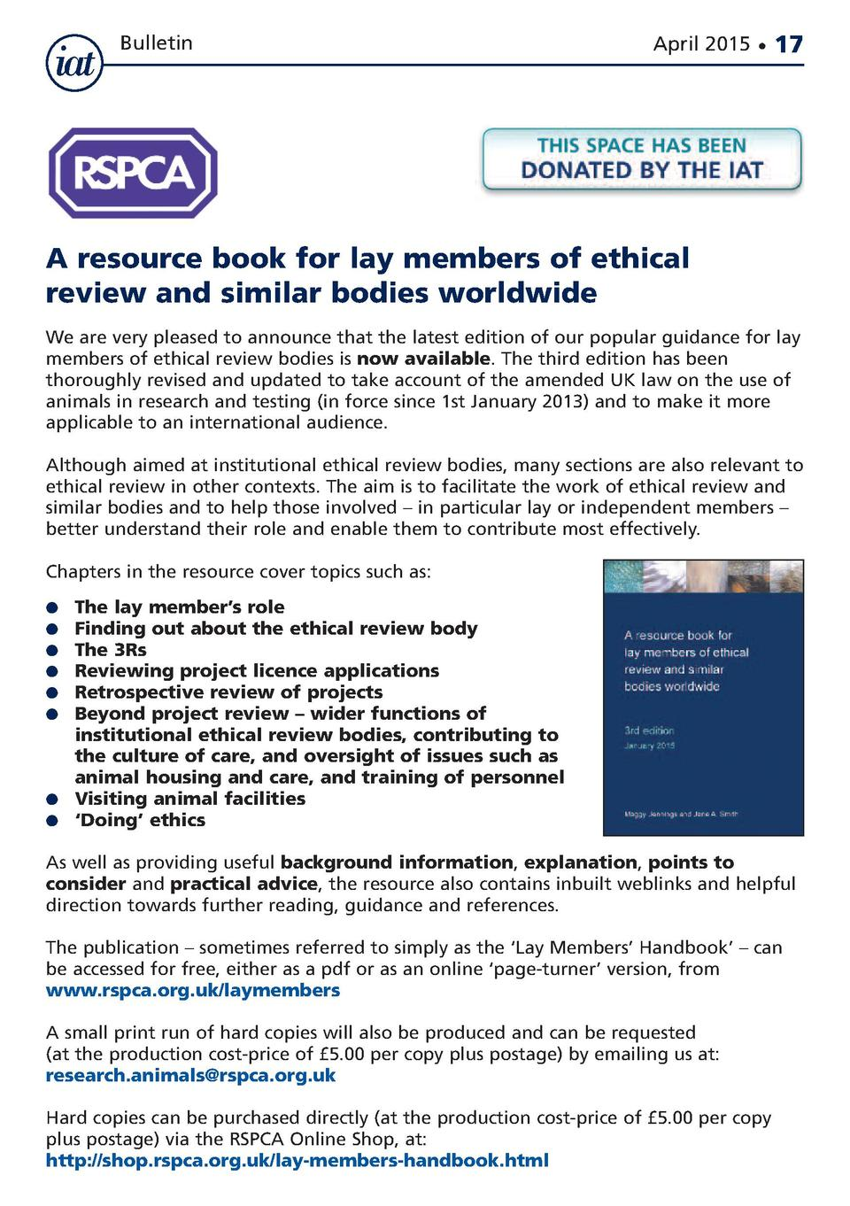 Bulletin  April 2015      17  A resource book for lay members of ethical review and similar bodies worldwide We are very p...
