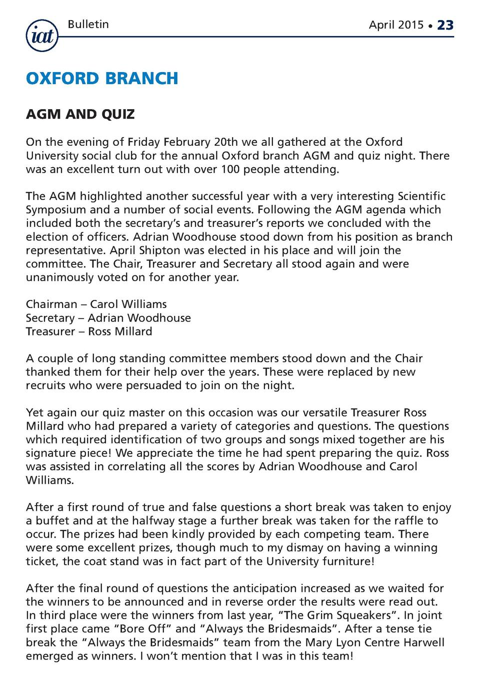 Bulletin  April 2015      23  OXFORD BRANCH AGM AND QUIZ On the evening of Friday February 20th we all gathered at the Oxf...