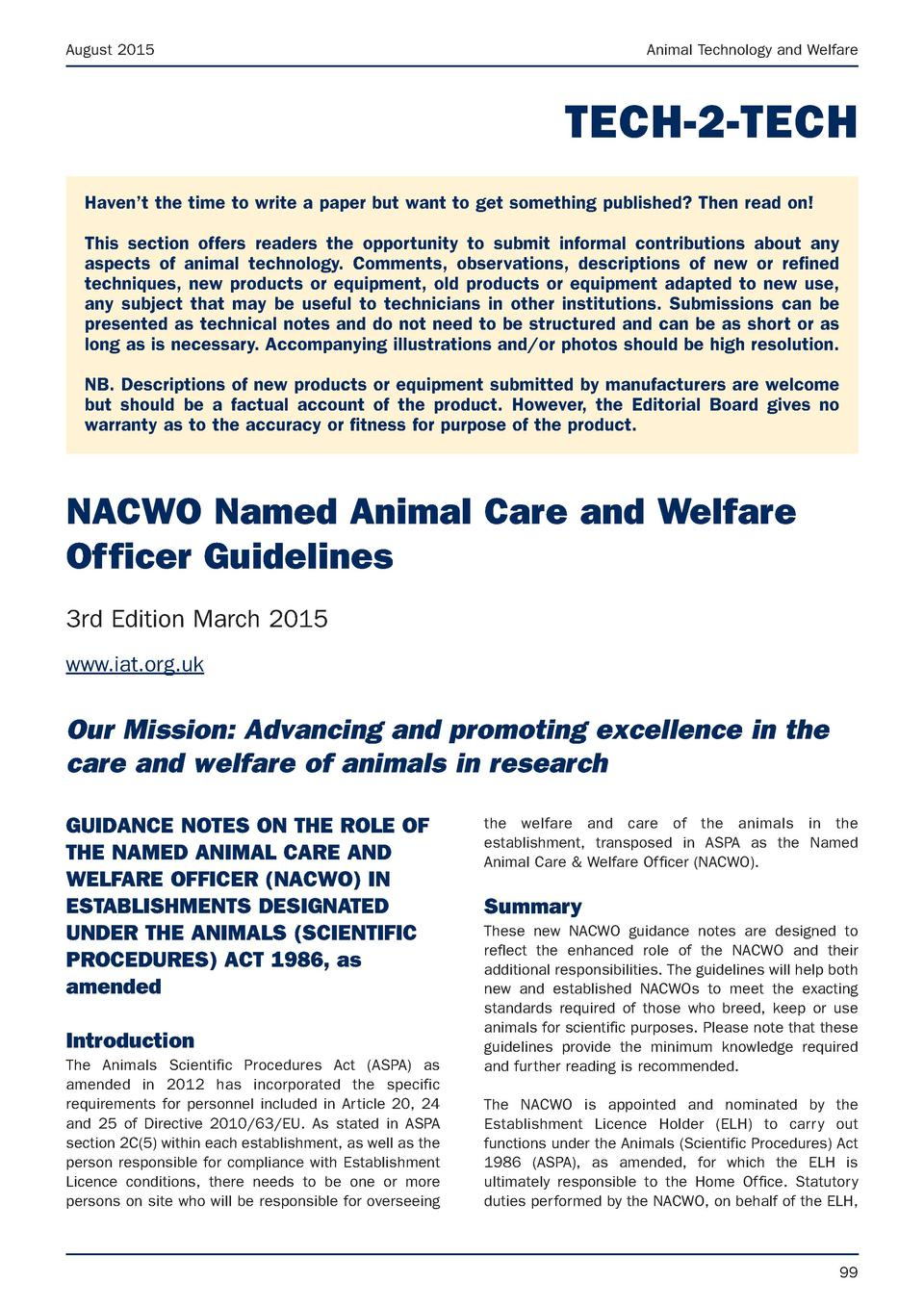 August 2015  Animal Technology and Welfare  TECH-2-TECH Haven   t the time to write a paper but want to get something publ...