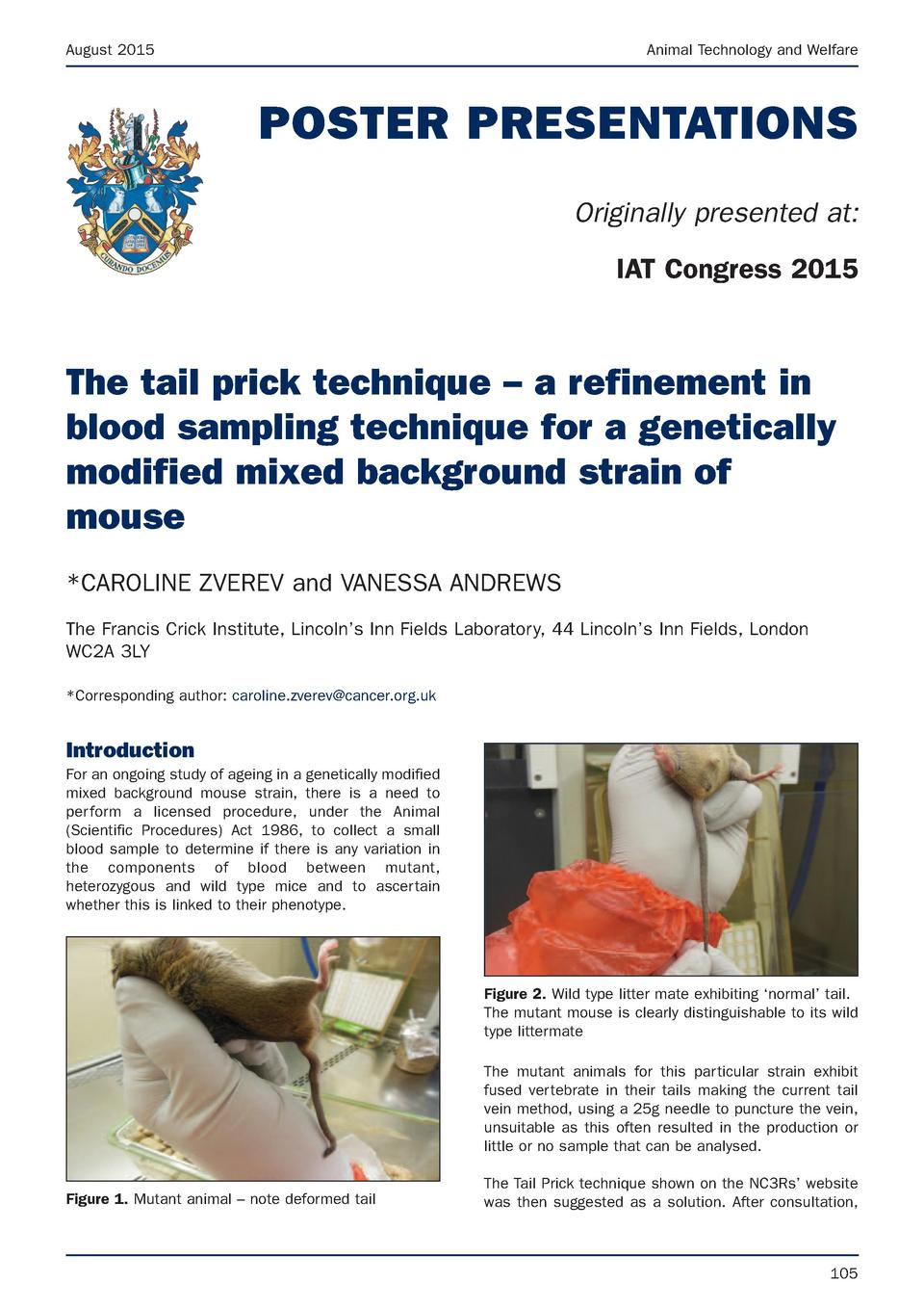 August 2015  Animal Technology and Welfare  POSTER PRESENTATIONS Originally presented at  IAT Congress 2015  The tail pric...
