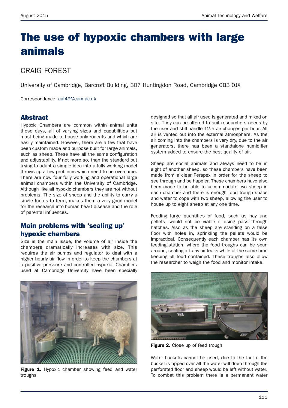 August 2015  Animal Technology and Welfare  The use of hypoxic chambers with large animals CRAIG FOREST University of Camb...