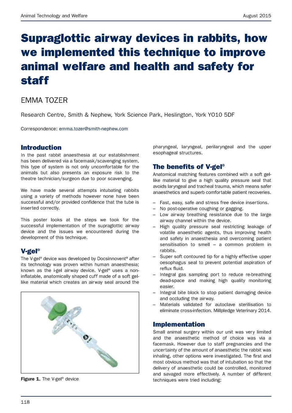 Animal Technology and Welfare  August 2015  Supraglottic airway devices in rabbits, how we implemented this technique to i...