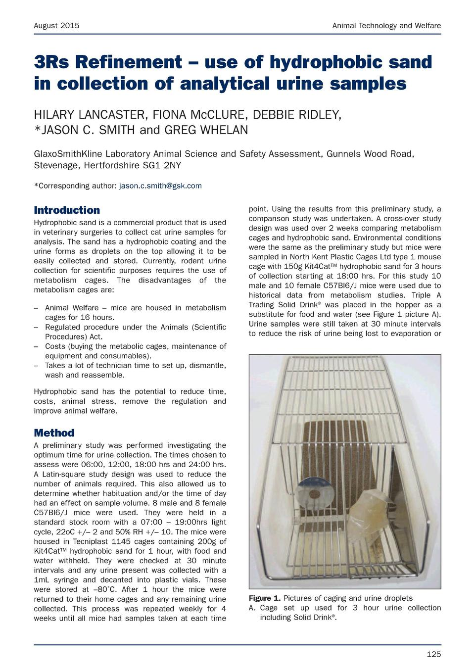 August 2015  Animal Technology and Welfare  3Rs Refinement     use of hydrophobic sand in collection of analytical urine s...