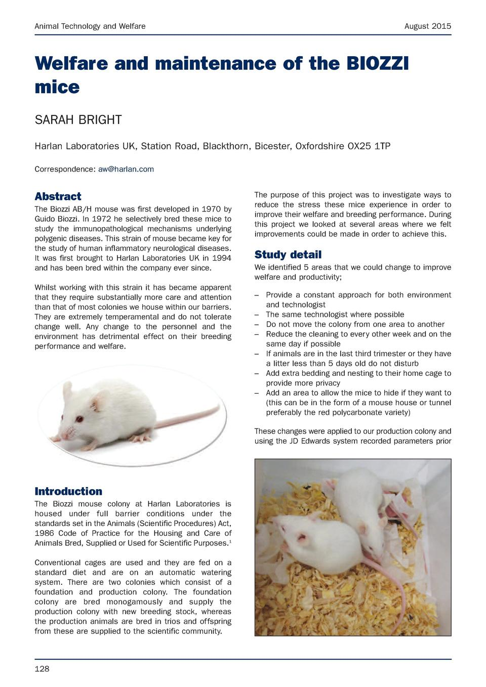 Animal Technology and Welfare  August 2015  Welfare and maintenance of the BIOZZI mice SARAH BRIGHT Harlan Laboratories UK...