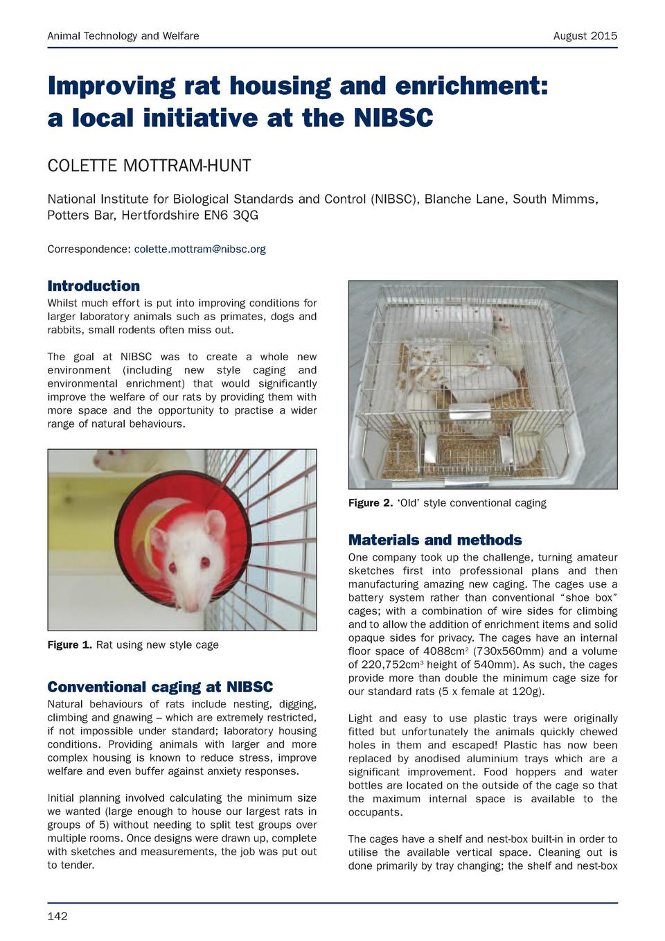 Animal Technology and Welfare  August 2015  Improving rat housing and enrichment  a local initiative at the NIBSC COLETTE ...