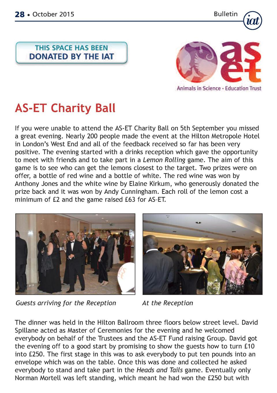 28     October 2015  Bulletin  AS-ET Charity Ball  If you were unable to attend the AS-ET Charity Ball on 5th September yo...