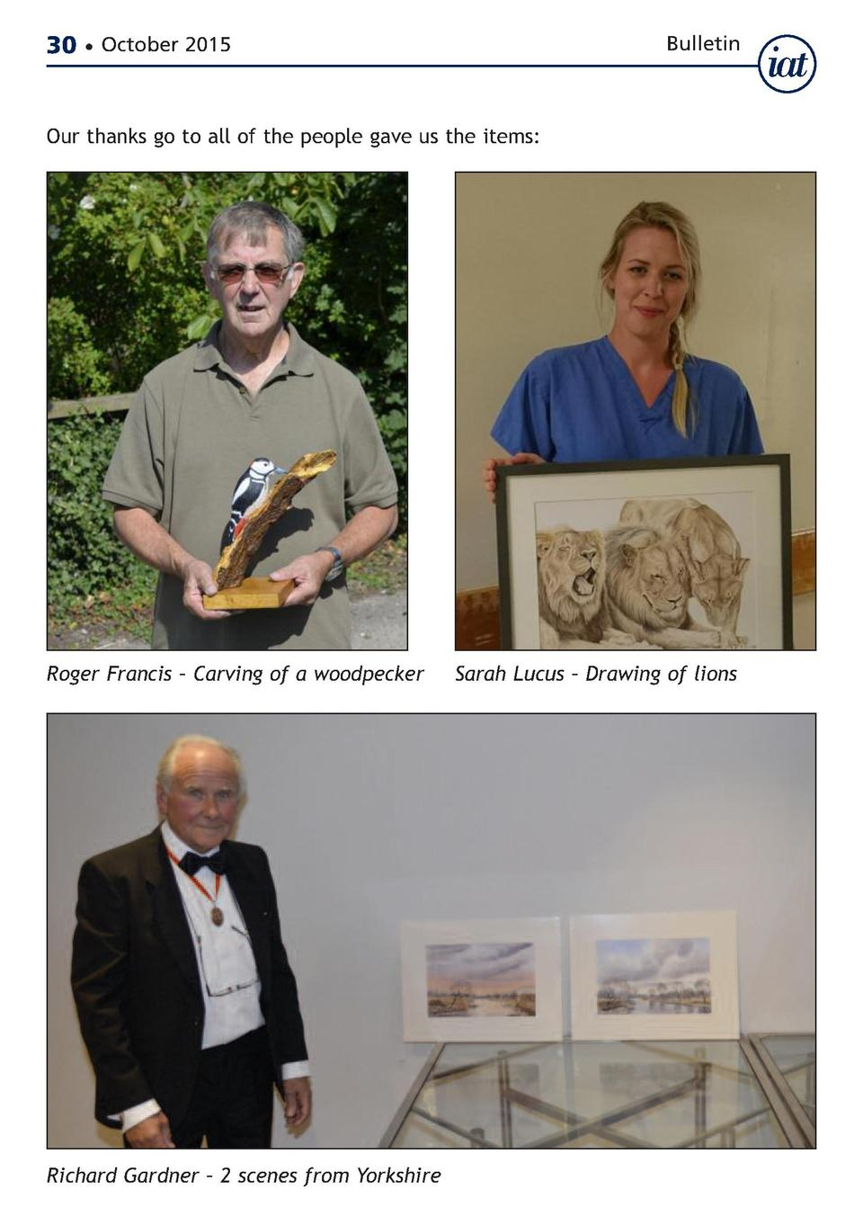 30     October 2015  Bulletin  Our thanks go to all of the people gave us the items   Roger Francis     Carving of a woodp...