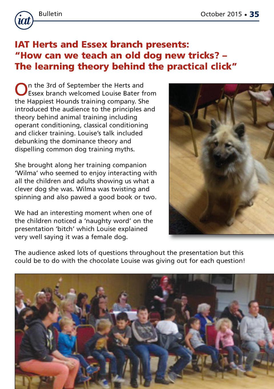 Bulletin  October 2015      IAT Herts and Essex branch presents     How can we teach an old dog new tricks      The learni...