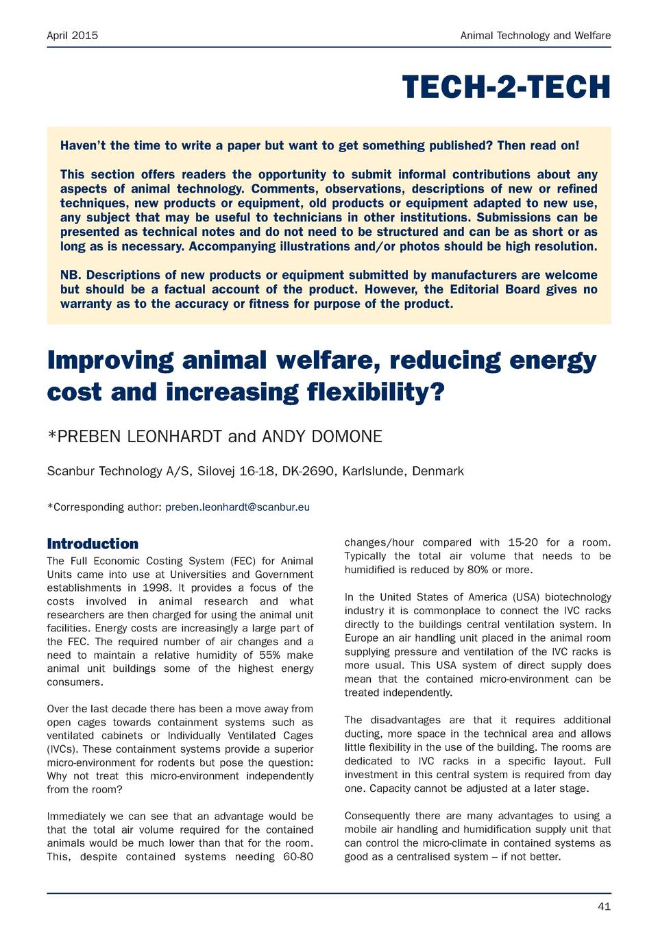 April 2015  Animal Technology and Welfare  TECH-2-TECH Haven   t the time to write a paper but want to get something publi...