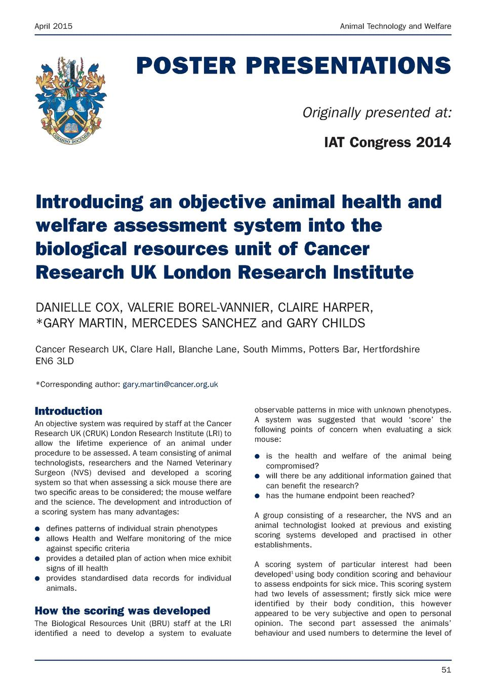 April 2015  Animal Technology and Welfare  POSTER PRESENTATIONS Originally presented at  IAT Congress 2014  Introducing an...
