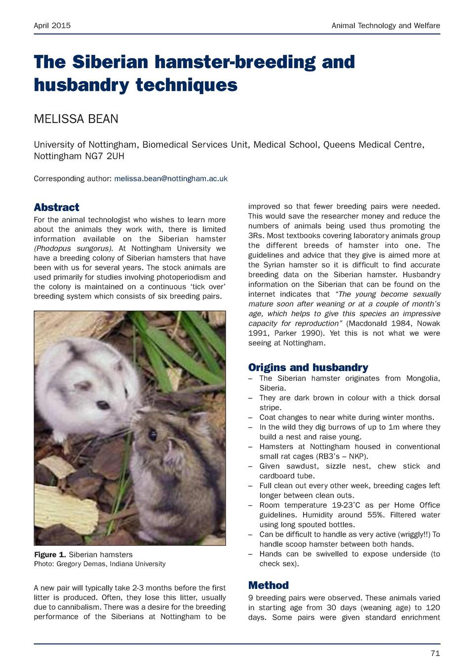 April 2015  Animal Technology and Welfare  The Siberian hamster-breeding and husbandry techniques MELISSA BEAN University ...
