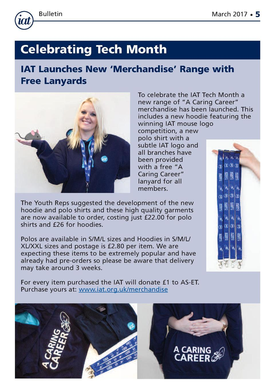 Bulletin  March 2017      Celebrating Tech Month IAT Launches New    Merchandise    Range with Free Lanyards To celebrate ...
