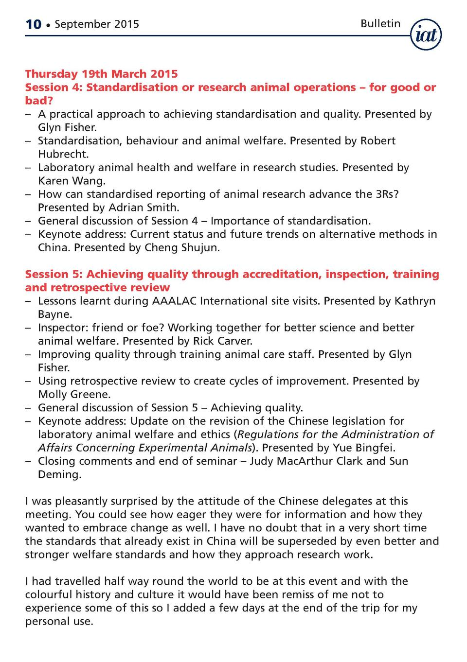 10     September 2015  Bulletin  Thursday 19th March 2015 Session 4  Standardisation or research animal operations     for...