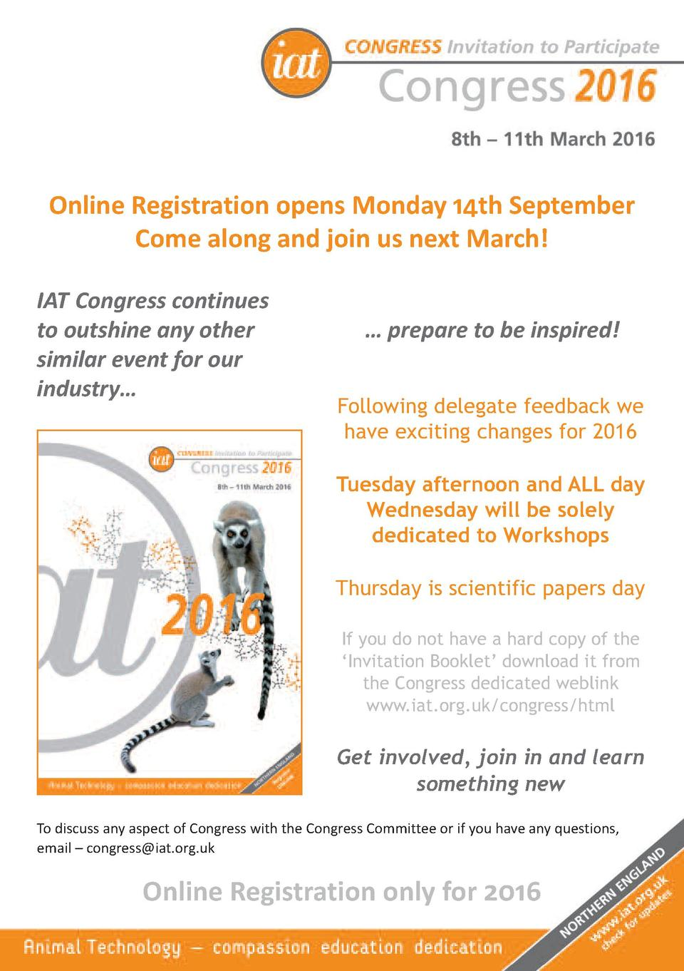 Online Registration opens Monday 14th September Come along and join us next March  IAT Congress continues to outshine any ...