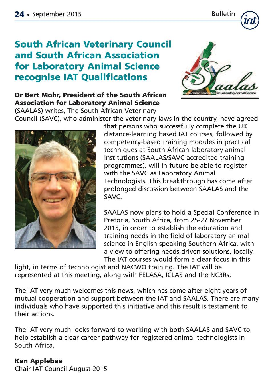 24     September 2015  Bulletin  South African Veterinary Council and South African Association for Laboratory Animal Scie...