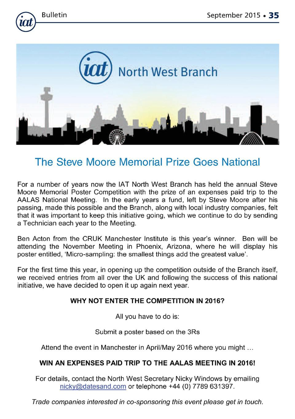 Bulletin  September 2015      The Steve Moore Memorial Prize Goes National  35