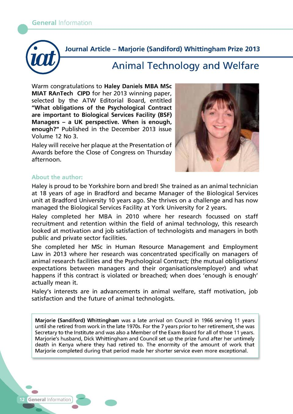 General Information  Journal Article     Marjorie  Sandiford  Whittingham Prize 2013  Animal Technology and Welfare Warm c...
