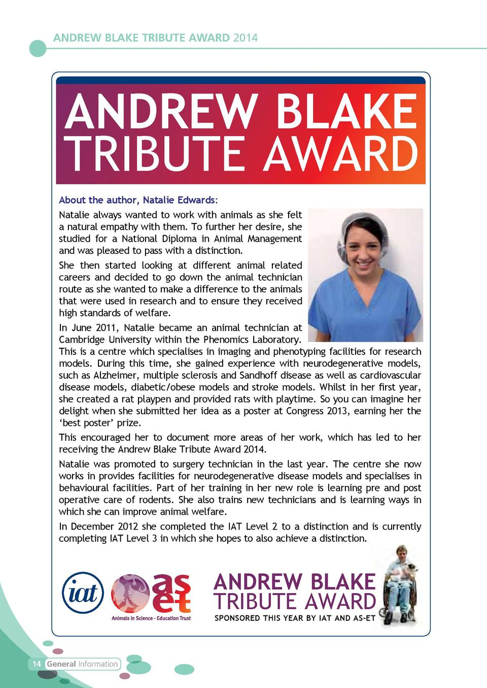 ANDREW BLAKE TRIBUTE AWARD 2014  ANDREW BLAKE TRIBUTE AWARD About the author, Natalie Edwards  Natalie always wanted to wo...