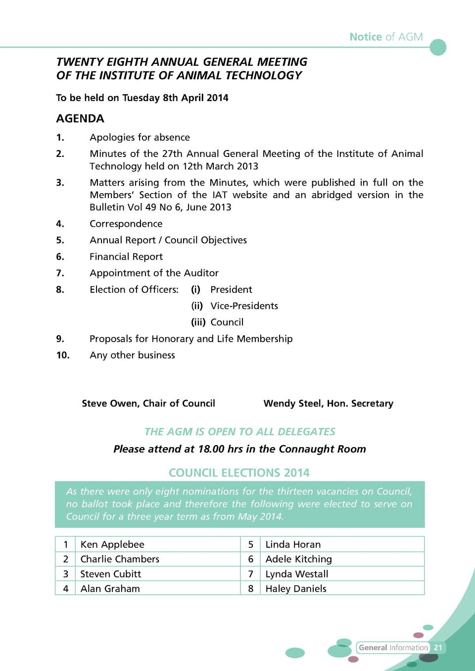 Notice of AGM  TWENTY EIGHTH ANNUAL GENERAL MEETING OF THE INSTITUTE OF ANIMAL TECHNOLOGY To be held on Tuesday 8th April ...