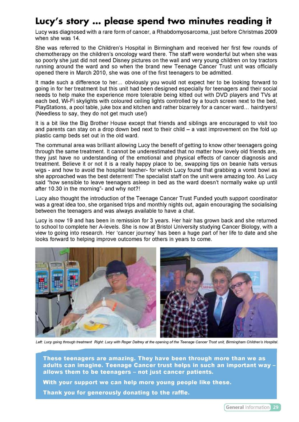 Lucy   s story     please spend two minutes reading it Lucy was diagnosed with a rare form of cancer, a Rhabdomyosarcoma, ...