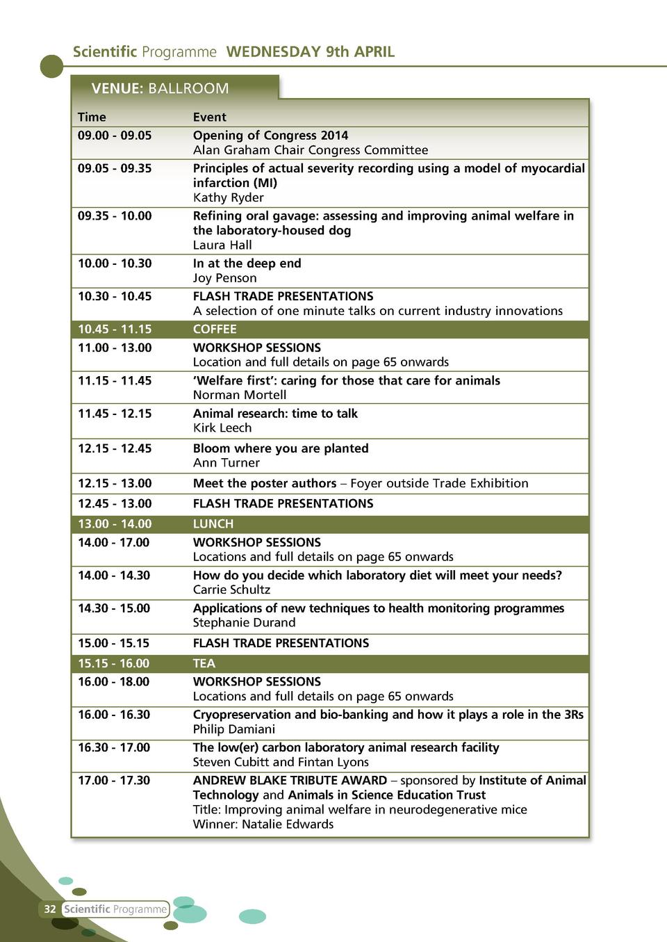 Scientific Programme WEDNESDAY 9th APRIL VENUE  BALLROOM Time Event 09.00 - 09.05  Opening of Congress 2014   Alan Graham ...