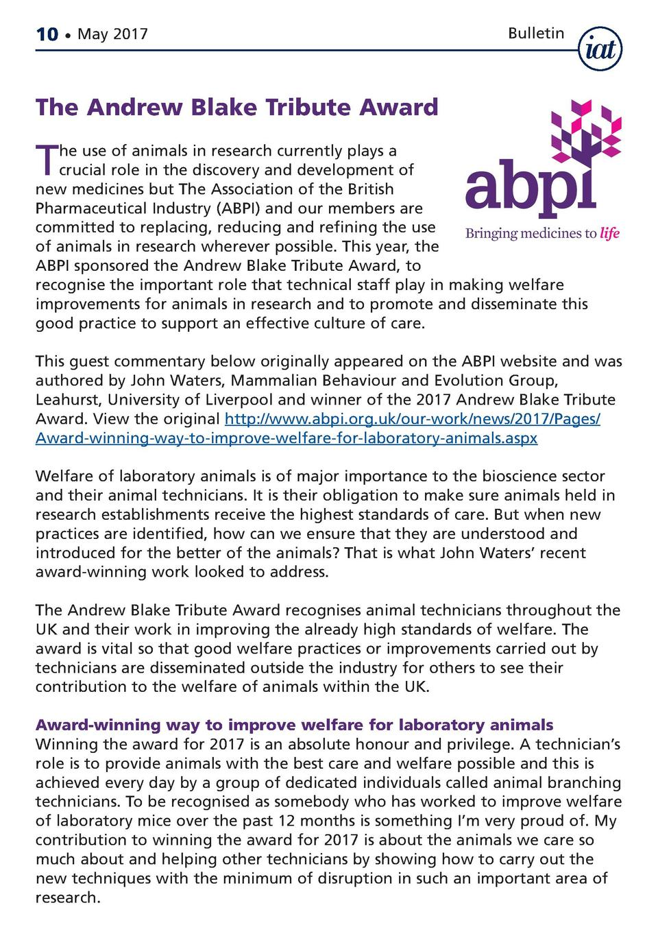10     May 2017  Bulletin  The Andrew Blake Tribute Award  T  he use of animals in research currently plays a crucial role...