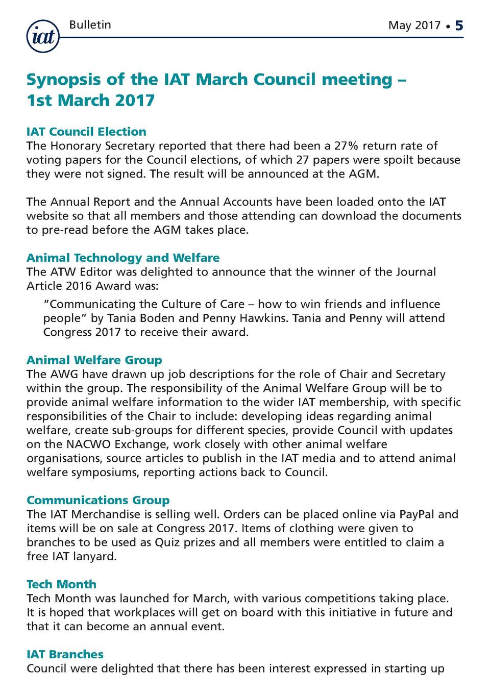 Bulletin  May 2017      5  Synopsis of the IAT March Council meeting     1st March 2017 IAT Council Election The Honorary ...