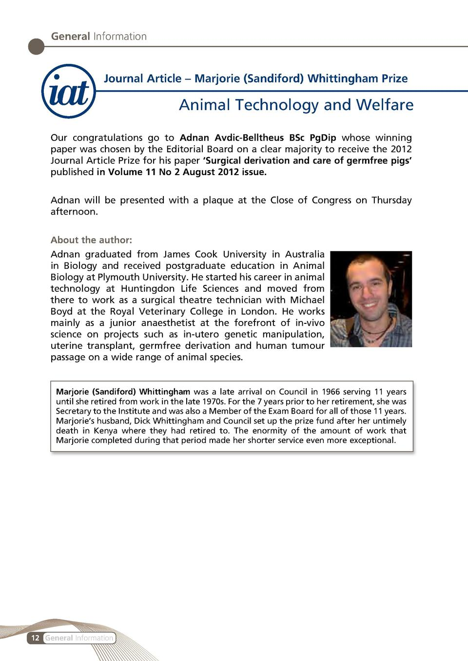 General Information  Journal Article     Marjorie  Sandiford  Whittingham Prize  Animal Technology and Welfare Our congrat...