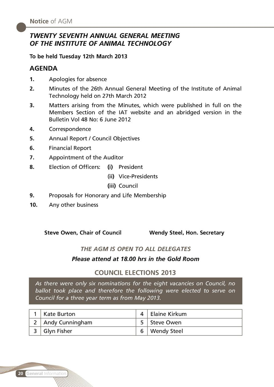 Notice of AGM  TWENTY SEVENTH ANNUAL GENERAL MEETING OF THE INSTITUTE OF ANIMAL TECHNOLOGY To be held Tuesday 12th March 2...