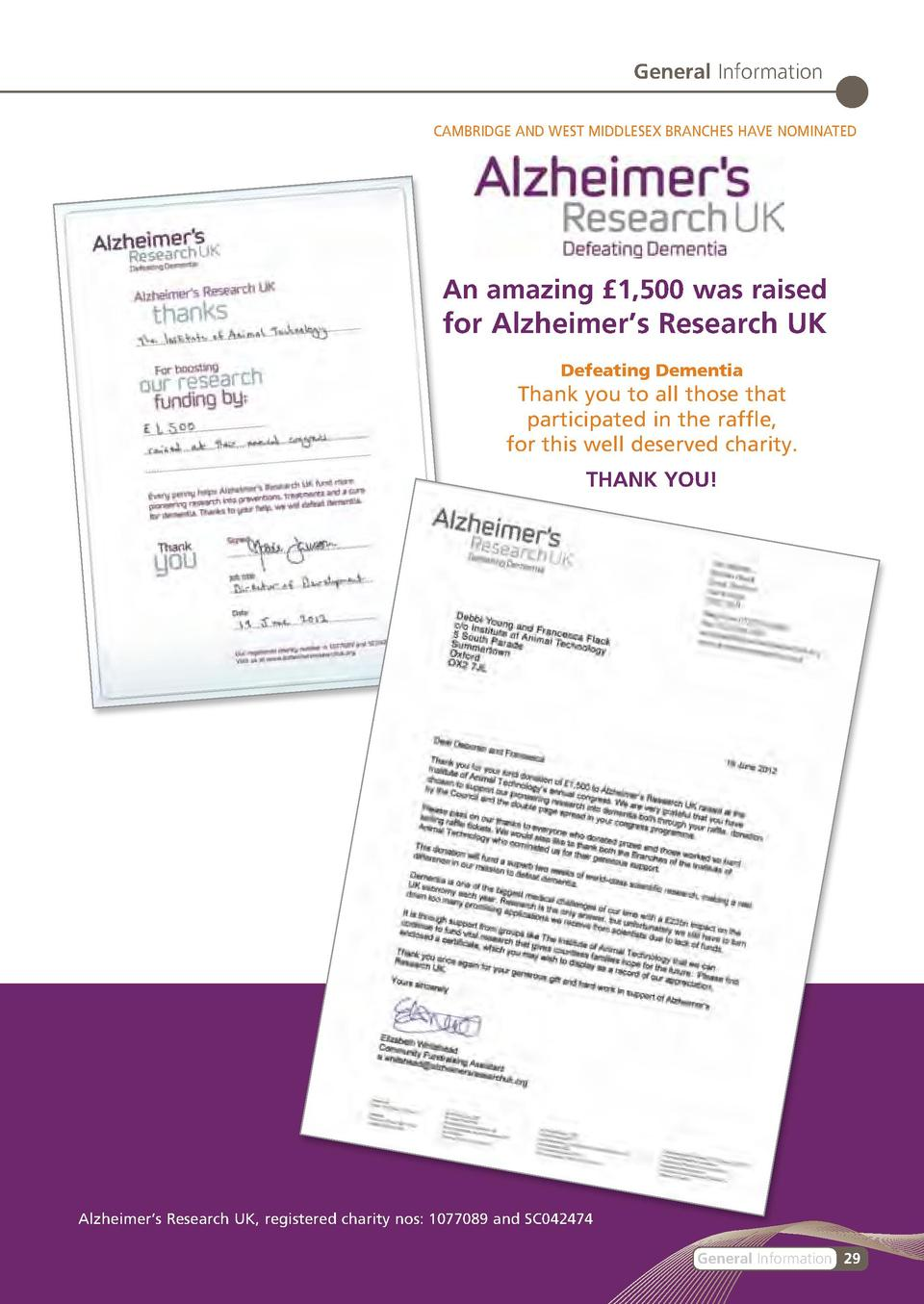General Information CAMBRIDGE AND WEST MIDDLESEX BRANCHES HAVE NOMINATED  An amazing   1,500 was raised  for Alzheimer   s...