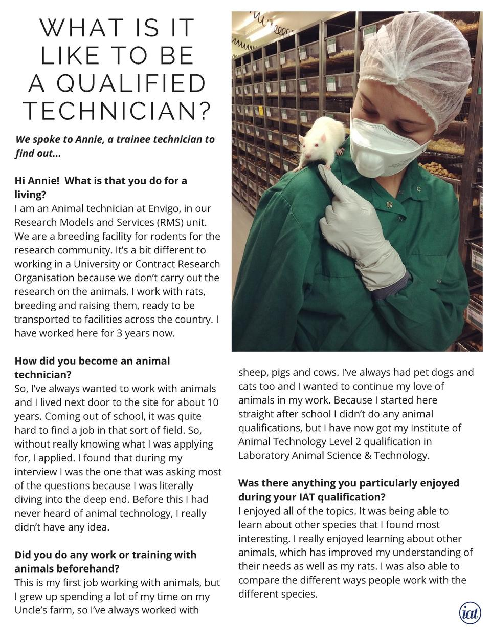 WHAT IS IT LIKE  TO BE A  QUALIFIED TECHNICIAN  We spoke to Annie, a trainee technician to find out... Hi Annie    What is...