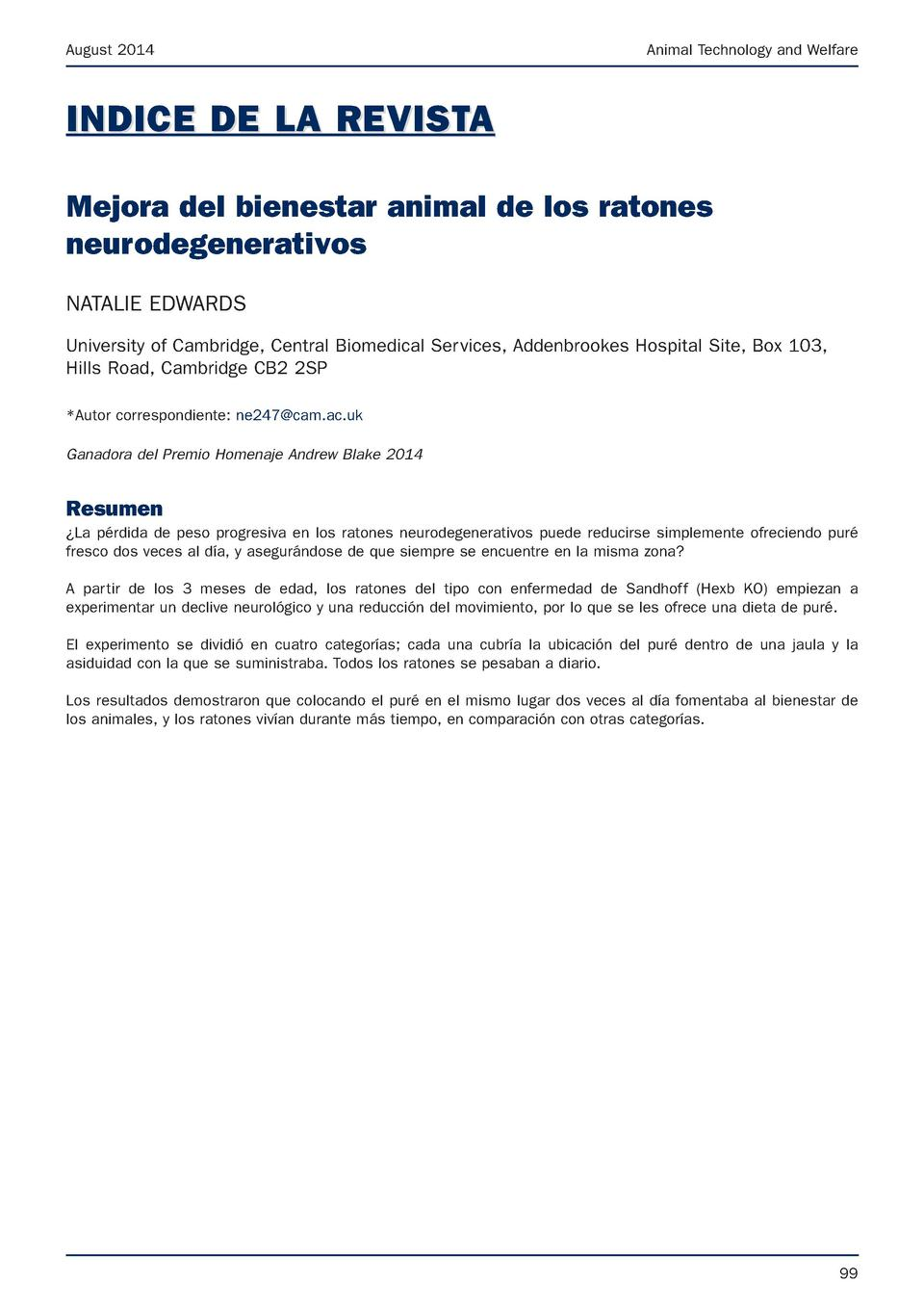 August 2014  Animal Technology and Welfare  INDICE DE LA REVISTA Mejora del bienestar animal de los ratones neurodegenerat...