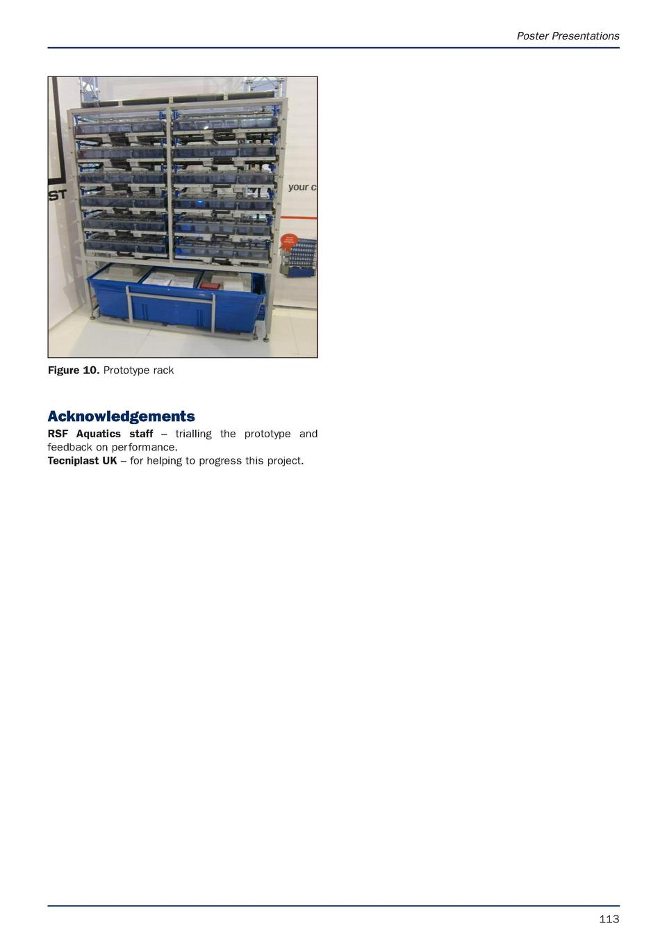 Poster Presentations  Figure 10. Prototype rack  Acknowledgements RSF Aquatics staff     trialling the prototype and feedb...