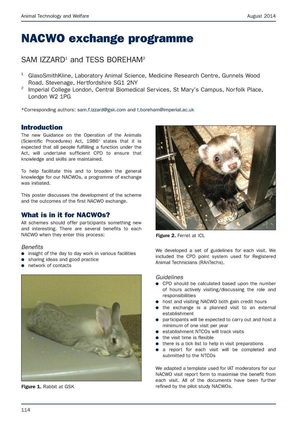 Animal Technology and Welfare  August 2014  NACWO exchange programme SAM IZZARD1 and TESS BOREHAM2 1  2  GlaxoSmithKline, ...