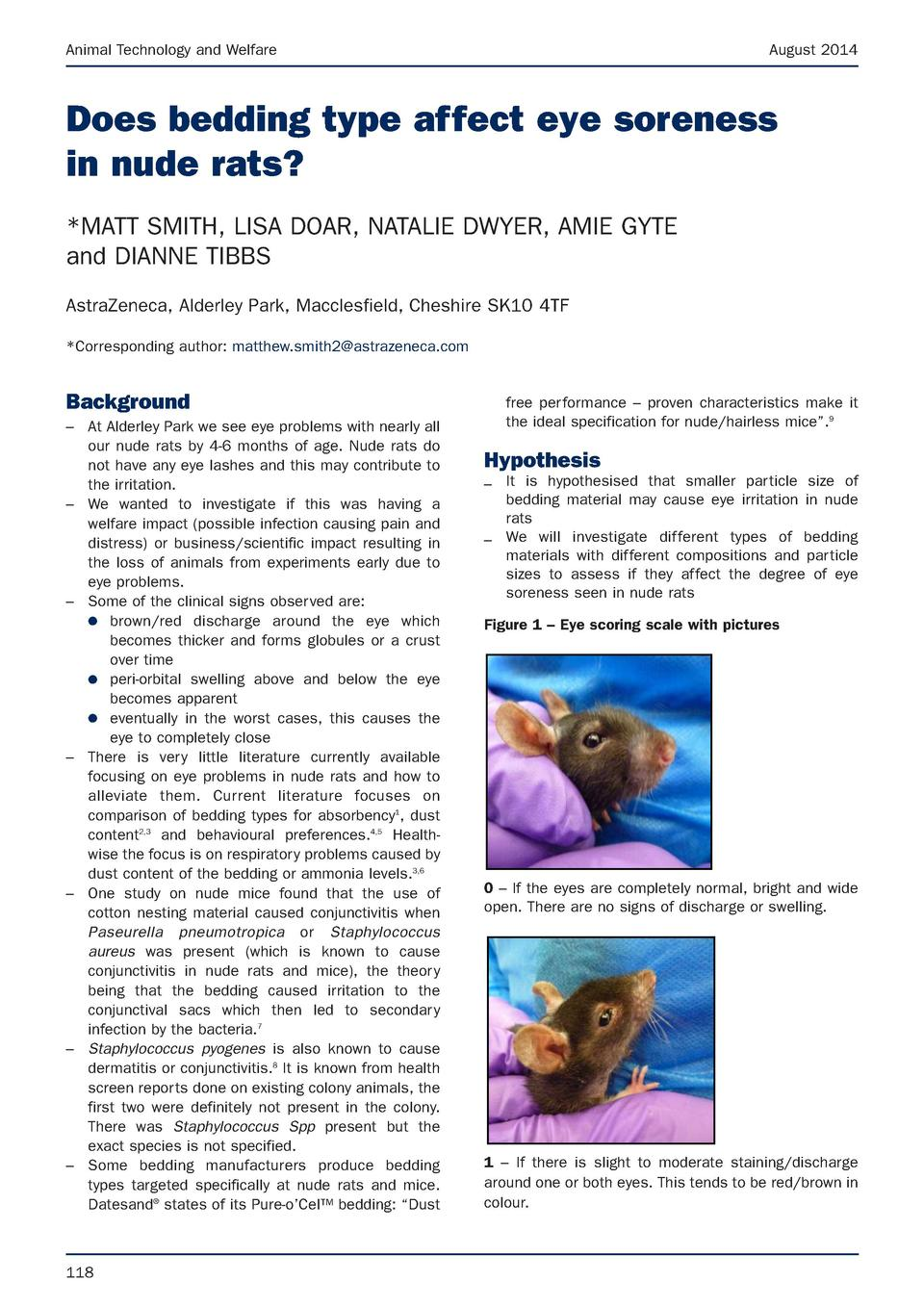 Animal Technology and Welfare  August 2014  Does bedding type affect eye soreness in nude rats   MATT SMITH, LISA DOAR, NA...