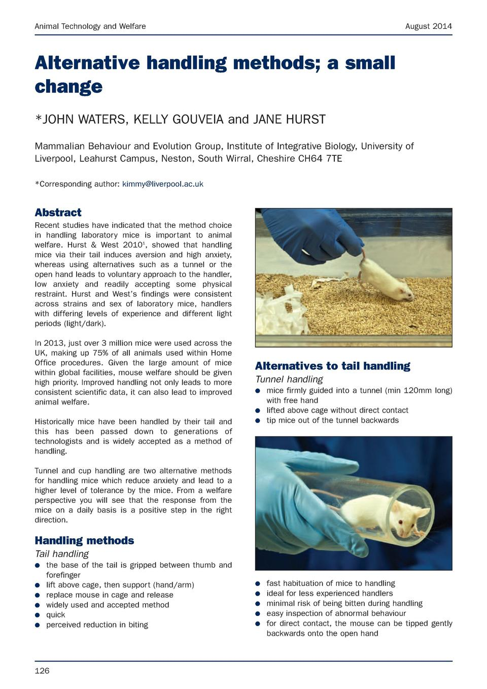 Animal Technology and Welfare  August 2014  Alternative handling methods  a small change  JOHN WATERS, KELLY GOUVEIA and J...