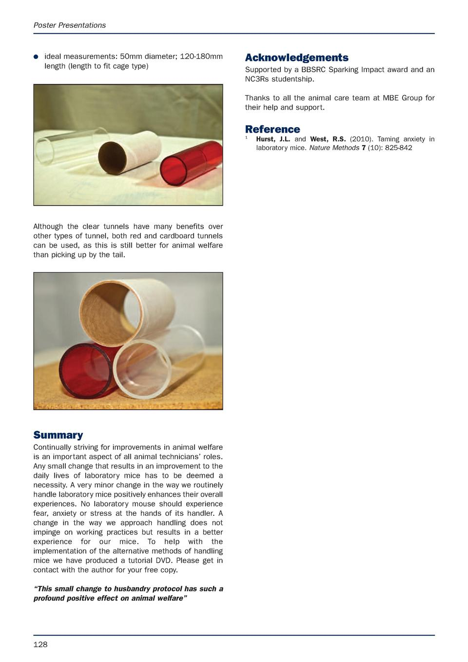 Poster Presentations  G  ideal measurements  50mm diameter  120-180mm length  length to fit cage type   Acknowledgements S...