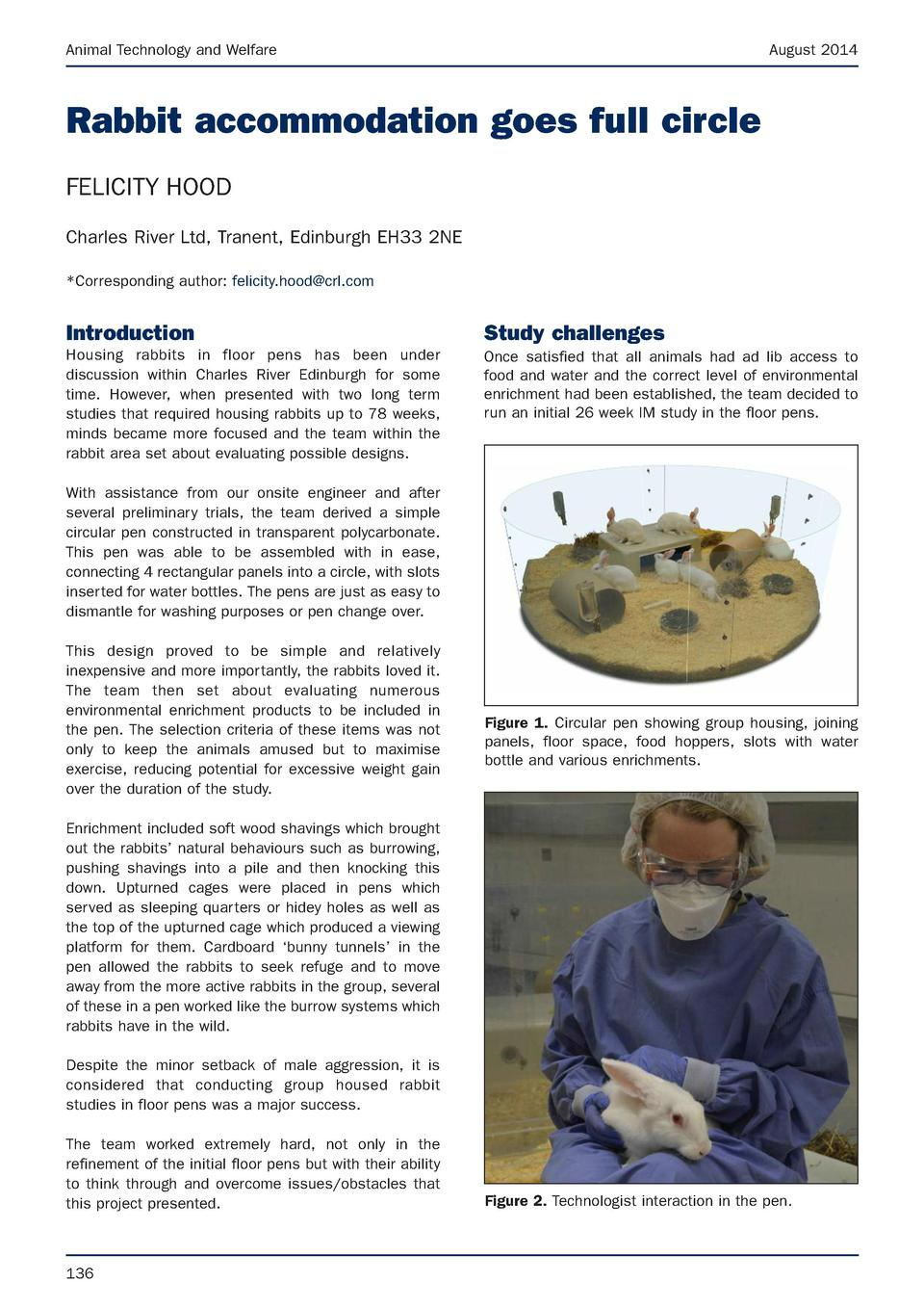 Animal Technology and Welfare  August 2014  Rabbit accommodation goes full circle FELICITY HOOD Charles River Ltd, Tranent...
