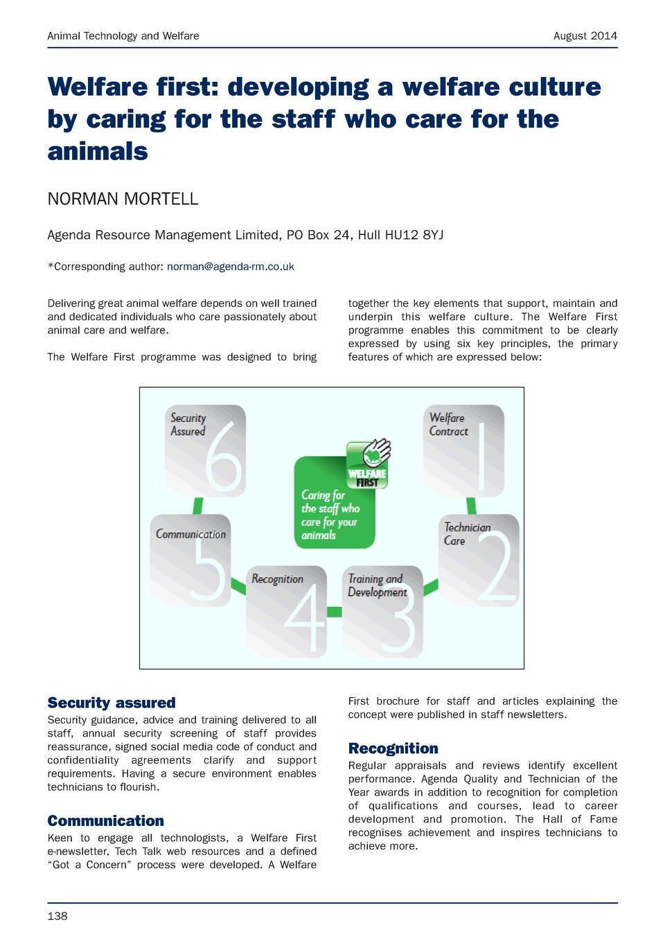 Animal Technology and Welfare  August 2014  Welfare first  developing a welfare culture by caring for the staff who care f...