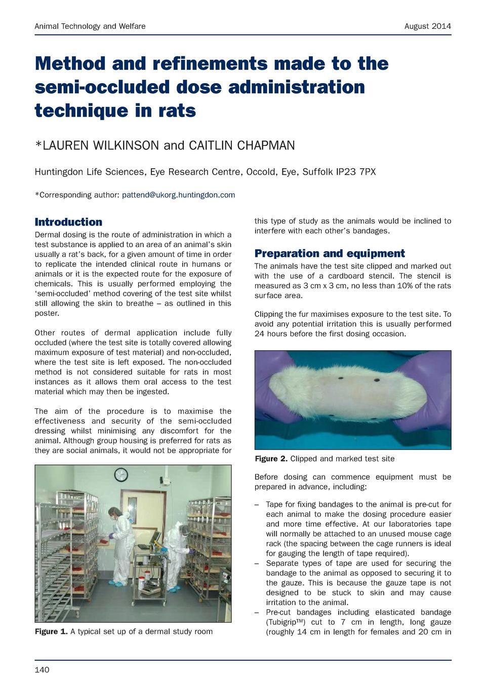 Animal Technology and Welfare  August 2014  Method and refinements made to the semi-occluded dose administration technique...