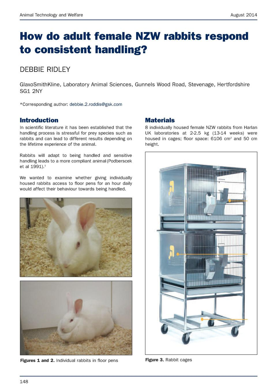 Animal Technology and Welfare  August 2014  How do adult female NZW rabbits respond to consistent handling  DEBBIE RIDLEY ...