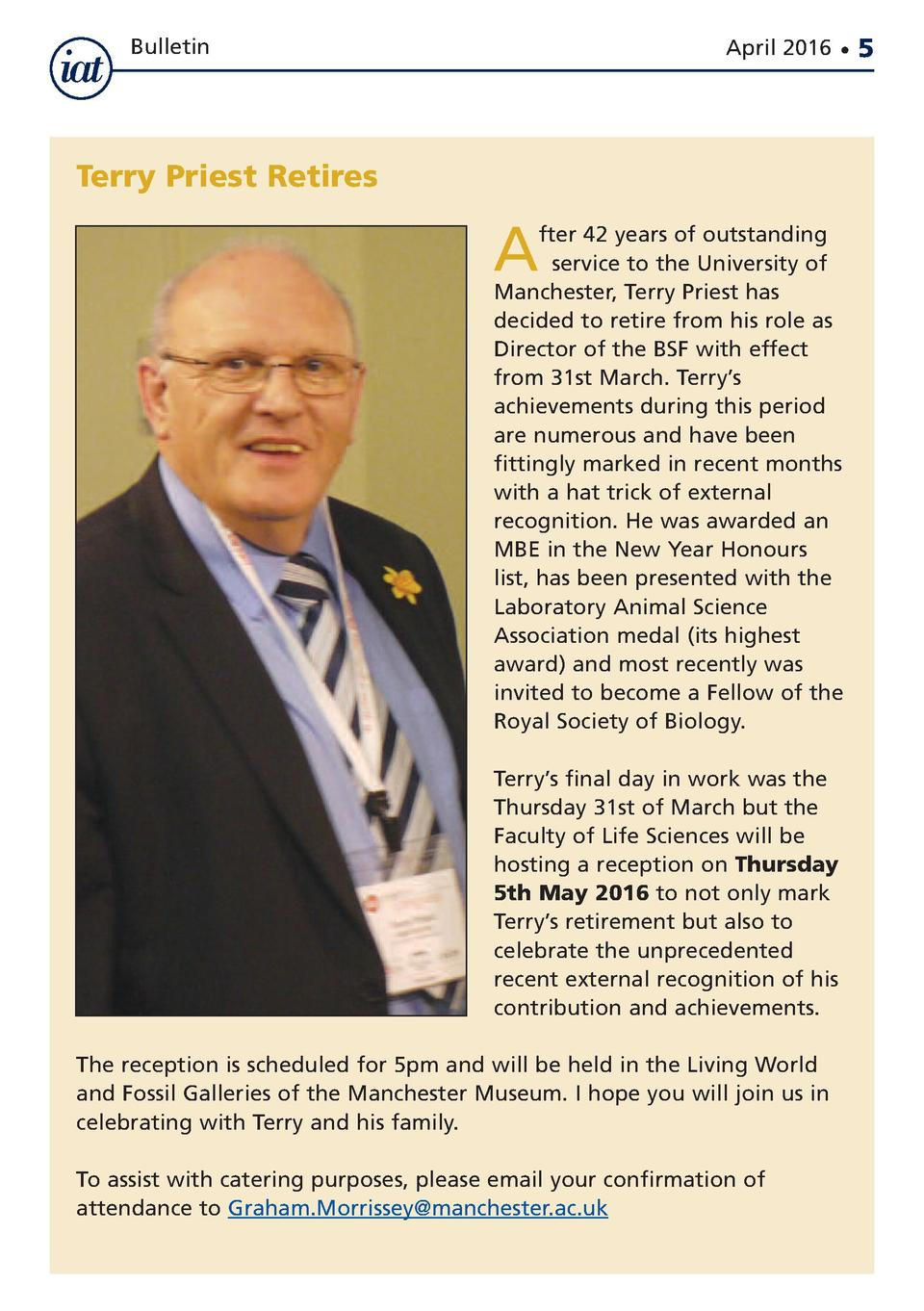 Bulletin  April 2016      Terry Priest Retires  A  fter 42 years of outstanding nservice to the University of Manchester, ...
