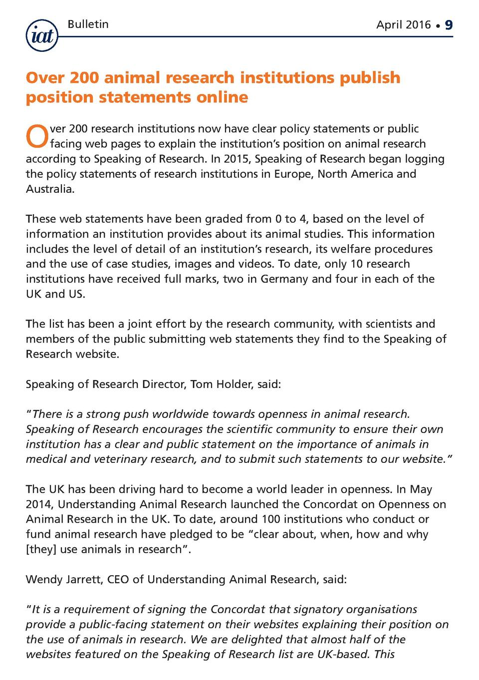 Bulletin  April 2016      9  Over 200 animal research institutions publish position statements online  O  ver 200 research...