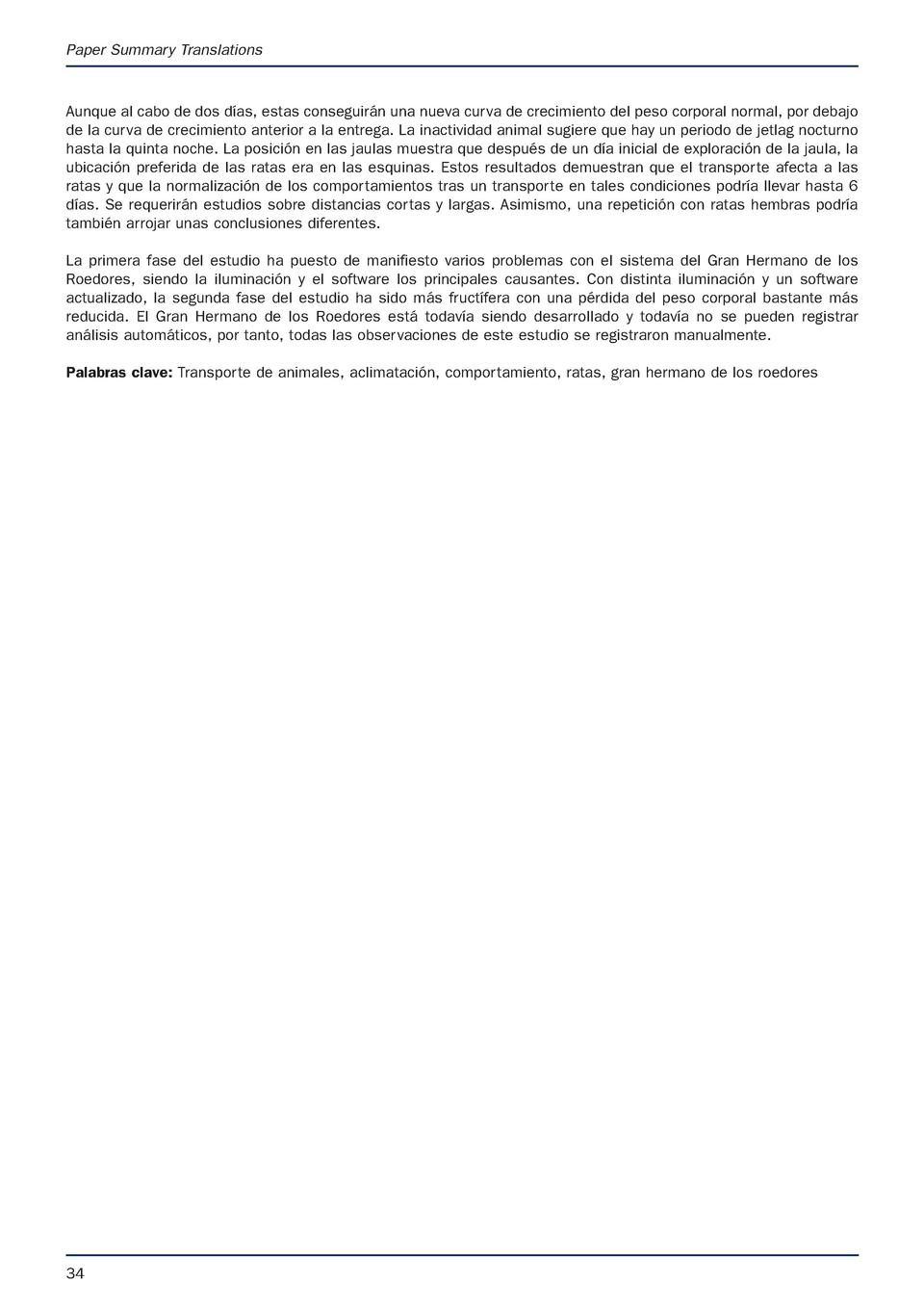 APRIL latest.e S Animal Technology and Welfare  9 3 17  07 53  Page 34  Paper Summary Translations  Aunque al cabo de dos ...
