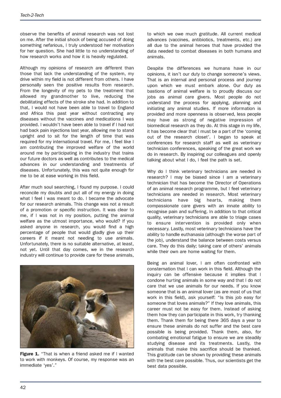 APRIL latest.e S Animal Technology and Welfare  9 3 17  07 53  Page 42  Tech-2-Tech  observe the benefits of animal resear...