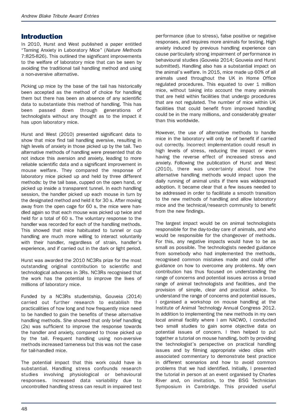 APRIL latest.e S Animal Technology and Welfare  9 3 17  07 53  Page 48  Andrew Blake Tribute Award Entries  Introduction I...